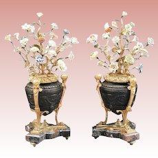 "Antique Louis XVI Style Patinated Bronze Porcelain Urns ~  Polychrome Porcelain Flowers ~   "" GLORIOUS   PAIR"""