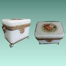 French Double Handle White Opaline Overlaid 'Crackle'  Craquelle  Glass Casket Hinged Box ~ Gorgeous Bouquet of Flower ~  Ornate Footed Base and Mounts