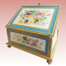 Antique French Sevres Bronze Casket Hinged Box. Beautiful Sevres Casket Hinged Box~ Five Wonderful Sevres Proclaim Plaques ~  Footed Base and Elegant Clasp Catch