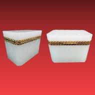 Grandest Antique White French Opaline Casket Hinged Box ~ Deep Cut Pattern  Diamond Crisscross  Design ~ Exquisite Gilt Bronze Mounts
