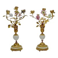 """Gorgeous 14"""" Antique French Bronze Marble Candelabras   """"Porcelain Flowers & Bronze Leaves""""  ~ PAIR  Candelabras"""