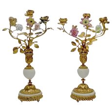 "Gorgeous 14"" Antique French Bronze Marble Candelabras   ""Porcelain Flowers & Bronze Leaves""  ~ PAIR  Candelabras"