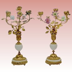 """PAIR 14"""" Antique French Bronze Marble Candelabras   """"Porcelain Flowers & Bronze Leaves""""   MAGNIFICENT"""