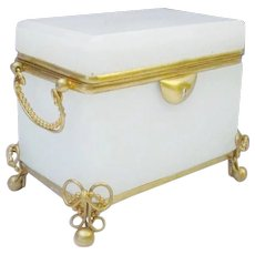 Antique French White Double Handle Casket Hinged Box  ~  Crisp White Opaline with Gilt Ormolu Bow Ties Feet ~ Fancy Double Handles
