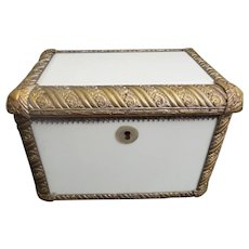 "19C  Antique French Brass and White Opaline Casket Hinged Box ~ Awesome 1"" Ornate Brass with  White Opaline Beveled Plaques~ BEAUTIFUL"