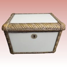 """19C  Antique French Brass and White Opaline Casket Hinged Box ~ Awesome 1"""" Ornate Brass with  White Opaline Beveled Plaques~ BEAUTIFUL"""