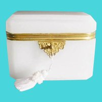 Antique French Dome Top White Opaline Casket Hinged Box~  Gilt Mount ~  Dome Top Casket .