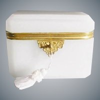 Gorgeous Antique French Dome Top White Opaline Casket Hinged Box~  Gilt Mount ~ Wide Beveled Edges ~ A Stunning Dome Top Casket .