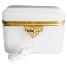 Antique French Dome Top White Opaline Casket Hinged Box with Gilt Mount ~ Wide Beveled Edges ~ A Stunning Dome Top Casket .