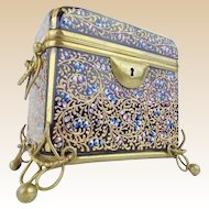 Antique Moser Cobalt Casket Hinged Box with Double Handles~ Spectacular Hand Enameling and Exquisite Footed Base~ Another MOSER MASTERPIECE From My Treasure Vault