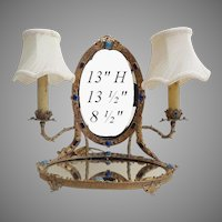 Rarest Antique Austrian Jeweled Vanity Mirror Twin Lamps ~ Mirrored Jeweled with Large Gems and The Jeweled Twin Arms