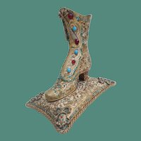 Antique Austrian Jeweled Bronze Shoe Inkwell!  ~ A Victorian High Top Shoe Resting on a BIG Pillow ~ Bows and Braided Edge~ The Top Will Hold Pens