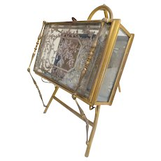Antique French Vitrine Hinged Casket ~ Bronze Easel Style Stand with a Glass Vitrine Box