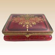 Vintage Estate Cranberry Hinged Box ~  Fancy Gilding