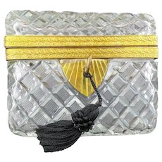 Antique French Cut Crystal Casket Hinged Box ~ Beautiful Rectangular Shape Casket ~ Gilt Bronze Fancy Mount ~  Locking Key