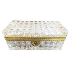 Grandest Antique French Cut Crystal Glove Casket Hinged Box ~ A Glorious Size ~ Ornate Gilt Mounts and Fancy Mounts ~ Exquisite Cut!