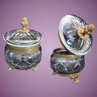 19C French Baccarat Cut Crystal Casket Hinged Box ~ Pineapple Final and Fabulous Footed Base