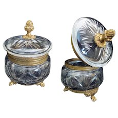 19C French Baccarat Cut Crystal Casket Hinged Box ~ Pineapple Final and Stunning Footed Base