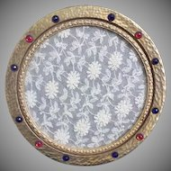 Antique Jeweled Vanity Perfume Tray ~ Divine Double Glass with Lace Insert ~ Luscious Hammered Brass Tray Circled in Red and Blue Gems