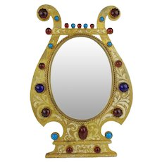 """Antique 9 ½""""  French Jeweled Table Top Frame ~ Ready for Your 3 ¾"""" x  5"""" Photo ~ Red and Turquoise Gems ~ A BEAUTY from My Treasure Vault"""