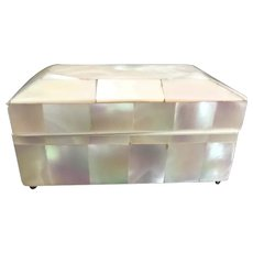 Antique English Mother of Pearl Needle Box ~ Slight Dome Top and Resting on Four Tiny Ball Feet