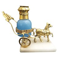 Antique French Eglomise Blue Opaline Scent Bottle in a Prancing Horse Fancy Cart  Resting on an Alabaster Plinth