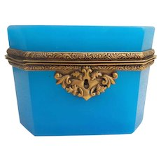 Beautiful Antique French Blue Opaline Casket Hinged Box with Fabulous Ornate Mounts