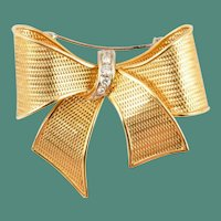 Vintage Estate  18KARAT Gold & Diamond Bow Brooch  ~ A Magnificent Size Bow Brooch