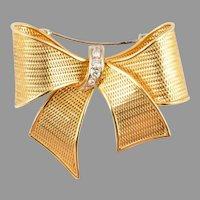 Vintage Estate  18KARAT Gold & Diamond Bow Brooch  ~ A Magnificent Size Bow Brooch