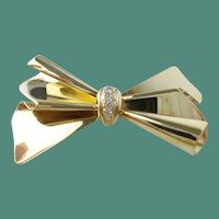 Fabulous Estate Vintage Italy 14K Ladies Diamond Bow Pin/Brooch