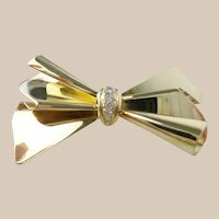 Fabulous Estate Vintage Italy 14K Ladies Diamond Bow Pin/Brooch