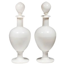 """Antique 14 ¾"""" White Opaline Apothecary, Perfume, Scent Bottles  ~ 100%  Original ~ A MAJESTIC PAIR"""