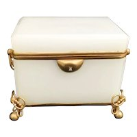 Antique French White Double Handle Casket Hinged Box ~  Gilt Ormolu Bow Ties Feet, Fancy Double Handles ~ Magnificent