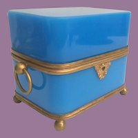 "7"" Antique French Blue Opaline Casket Hinged Box with Double Handles ~ Absolutely Wonderful Deep RICH Blue Opaline with Footed Ball Base ~ Big O Ring Double Handles."