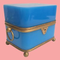 """7"""" Antique French Blue Opaline Casket Hinged Box with Double Handles ~ Absolutely Wonderful Deep RICH Blue Opaline with Footed Ball Base ~ Big O Ring Double Handles."""
