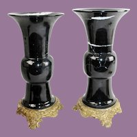 Estate  Black Marble Fluted Top Urns ~ Stunning Urns  Resting in Exquisite Bronze Bases