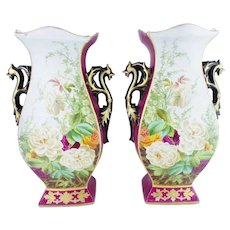"""Pair 19C Porcelain """"Old Paris Vases"""" Double Handle Vases ~ Roses and Glorious Burgundy with Purple Flowers~ Very Special Magnificent Vases"""