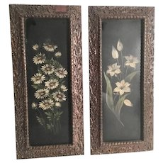 19c Toleware Panels in Lovely Wood and Gesso Frames ~ Pretty Flowers on Tin and in Beautiful Frames ~ Ready To Hang and Love!