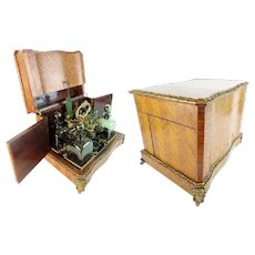 """LAYAWAY    Antique French Parquetry and Gilt Bronze Cave de Liqueur Tantalus  """" RARE Green Glasses and Decanters"""""""