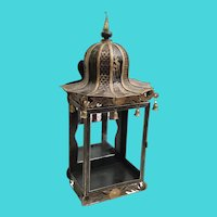 Antique Toleware  Chinoiserie Mirrored Wall Table Vitrine Display Cabinet ~ Stunning Pagoda Top