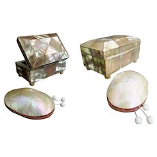 19C Mother of Pearl Needle Box and Mother of Pearl Pin Cushion ~ A Charming MOP Sewing Treasures