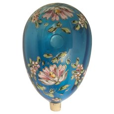 Moser Enamel Blue Glass Epergne.  Majestic Blue with Beautiful Enamel Flowers and Loaded with Awesome Gilding