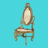 19C French Miniature Bronze Onyx Dresser Vanity ~ Twin Dolphins and Original Beveled Mirror ~ Superior Quality