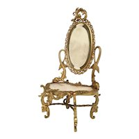 19C French Miniature  Doll Bronze Onyx Dresser Vanity ~ Twin Dolphins and Original Beveled Mirror ~ Superior Quality