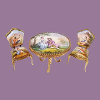 Antique AUSTRIA Enamel Table and Chairs ~ Very Fine Quality w Wonderful Pastoral Scenes ~ Three Exquisite Pieces