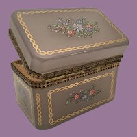 Antique Lavender Purple Opaline Casket Hinged w Beautiful Flowers and Gilding.~ Very Fine Ornate Mounts and Lift Clasp.