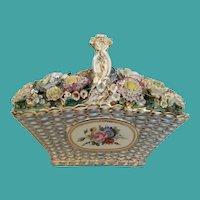 19C Antique Coalport Coalbrookdale Porcelain Basket ~  A Woven Porcelain Basket Filled with Delightful Flowers