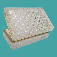 "7"" Crystal Hinged Box w Elegant Smooth Gilt Brass Mounts ~ 3 ½ Pounds"