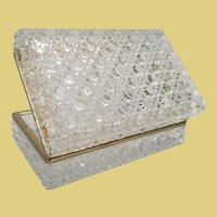 "7"" Crystal Hinged Box w Elegant Smooth Gilt Brass Mounts ~ 3 ½ Pounds"
