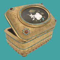 """Antique Bronze Jeweled Pietra Dura Casket Hinged Box ~ Magnificent Footed Base ~ Fabulous 3"""" Oval Pietra Dura Plaque"""